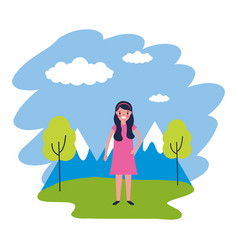 girl travel nature mountains landscape vector image