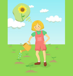 Girl watering sunflower flower garden vector