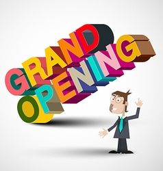 Grand Opening Colorful 3D Title with Man Isolated vector