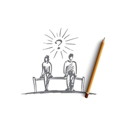 Hand drawn couple sitting on bench space between vector
