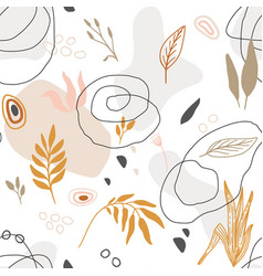 hand drawn seamless floral organic pattern vector image