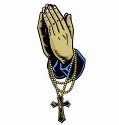 hand with rosary praying cross vector image