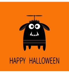 Happy halloween greeting card black silhouette vector
