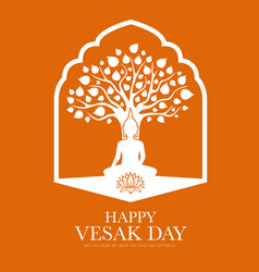 Happy vesak buddha day buddhism religion holiday vector