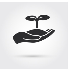 Human hands holding sprout vector