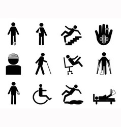 Injury icons set vector