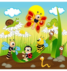 insects ride on leaf vector image vector image