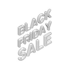 isometric black friday sale text with vector image