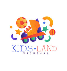 Kids land logo original colorful creative label vector