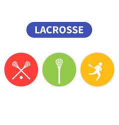 lacrosse icons player in game sticks vector image