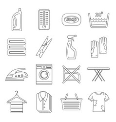 laundry icons set outline style vector image