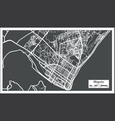 maputo mozambique city map in retro style outline vector image