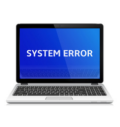 modern laptop with system error message on blue vector image