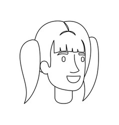 Monochrome silhouette of woman face with pigtails vector