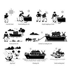 noah ark christian bible story artwork vector image