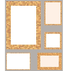 Orange pixel mosaic page layout border set vector