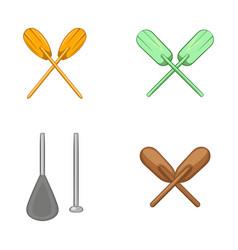 paddles icon set cartoon style vector image