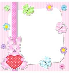 Pink rabbits cards vector
