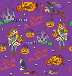 purple seamless pattern with cartoon halloween vector image
