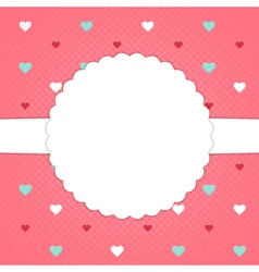 Red template card with blue red and white hearts vector