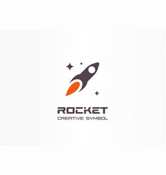 rocket in space startup creative symbol concept vector image