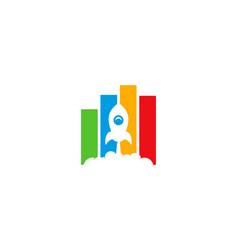 rocket statistic logo icon design vector image