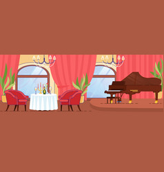 Romantic date at restaurant with luxury interior vector