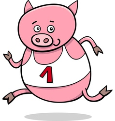 Running piglet cartoon vector