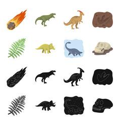 sea dinosaurtriceratops prehistoric plant human vector image