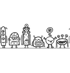 seamless monster border repeating cute vector image