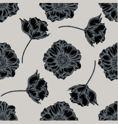 seamless pattern with hand drawn stylized poppy vector image