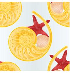 Seamless texture shellfish and starfish nature vector