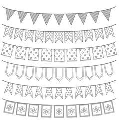 set garlands vector image