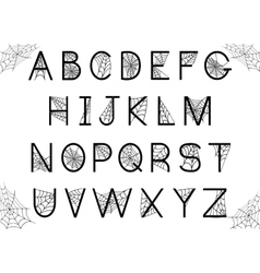 Set of letters with spider web vector