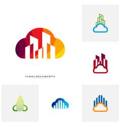 set of modern building cloud logo design concept vector image