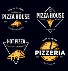 Set pizza logo badges banners emblems vector
