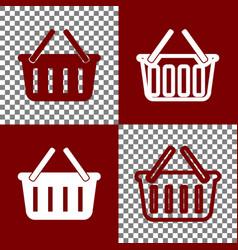 shopping basket sign bordo and white vector image