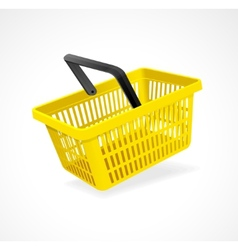 Shopping basket yellow on white vector
