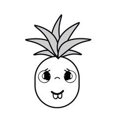 Silhouette kawaii cute sad pineapple vegetable vector