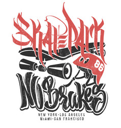 skate park no brakes t-shirt graphics vector image