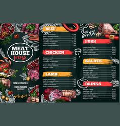 sketch menu for meat restaurant vector image