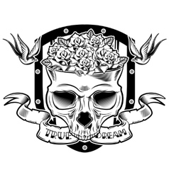 Skull In Flowers Tattoo Design vector image