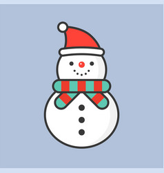 snowman with santa hat filled outline icon for vector image
