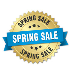 Spring sale 3d gold badge with blue ribbon vector