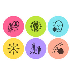 Startup face protection and fireworks icons set vector