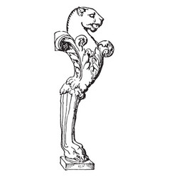 table leg have lion face in right side in design vector image