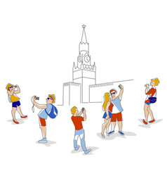 travelers in moscow vector image