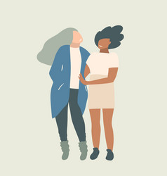 two girls friends standing talking together vector image