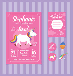Unicorn birthday invitation card template vector
