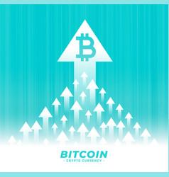 Upward growth bitcoin concept design with arrow vector